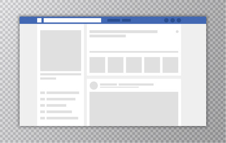 Browser window with Web page. Concept of Social Media Interface template. User Comments. Vector illustration Çizim