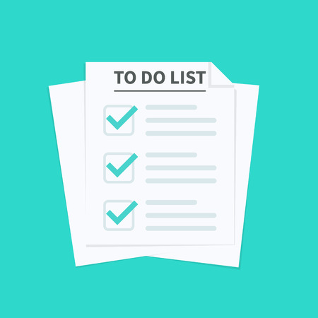 To do list or planning concept. Paper sheets with check marks icon, all tasks are completed. Abstract text and marker. Vector illustration Çizim