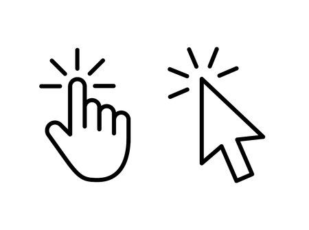 Los iconos de flecha gris del cursor clic del ratón de la computadora establecen y los iconos de carga. Icono de cursor. Ilustración vectorial
