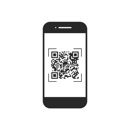 Scan QR code with mobile phone, symbol, app. Electronic , digital technology, barcode Vector illustration