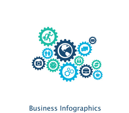 Business mechanism concept. Abstract background with connected gears and icons for strategy, service, analytics, research, seo, digital marketing, communicate concepts. Vector infographic Ilustração