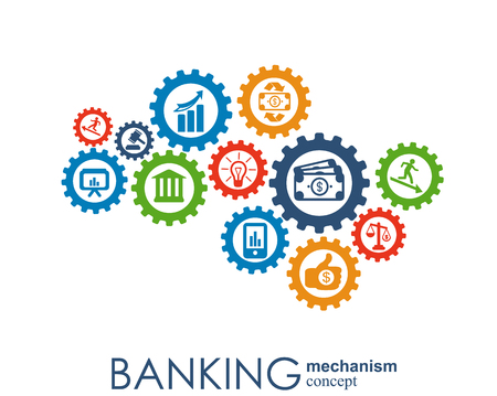 Banking mechanism. Abstract background with connected gears and integrated flat icons. symbols for money, card, bank, business and finance concepts. Vector interactive illustration