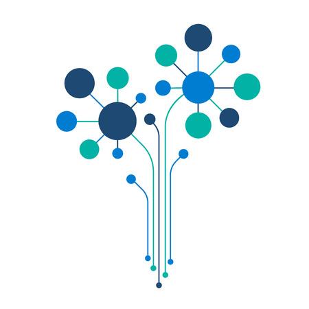 Geschäftsmechanismuskonzept. Abstrakter Hintergrund mit verbundenen Zahnrädern und Symbolen für Strategie, Service, Analytik, Forschung, SEO, digitales Marketing, Konzepte kommunizieren. Vektor-Infografik