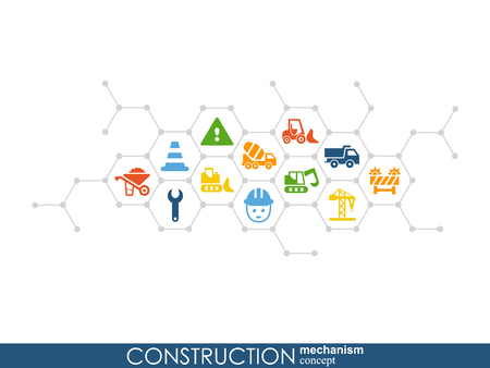 Construction network. Hexagon abstract background with lines, polygons, and integrated flat icons. Connected symbols for build, industry, architectural, engineering concepts. Vector Illustration