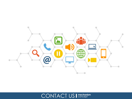 Contact Us mechanism concept. Growth abstract background with integrated meta balls, integrated icon for digital, strategy, internet, network, connect, communicate, technology, global concepts