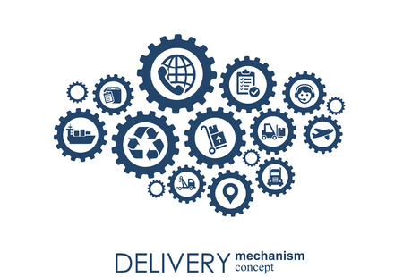 Delivery mechanism concept. Abstract background with connected gears and icons for logistic, service, strategy, shipping, distribution, transport, market, communicate concepts. Vector interactive 일러스트