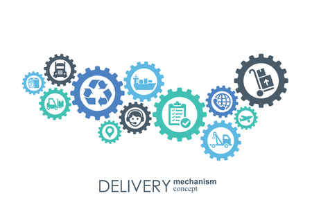 Delivery mechanism concept. Abstract background with connected gears and icons for logistic, service, strategy, shipping, distribution, transport, market, communicate concepts. Vector interactive Ilustração