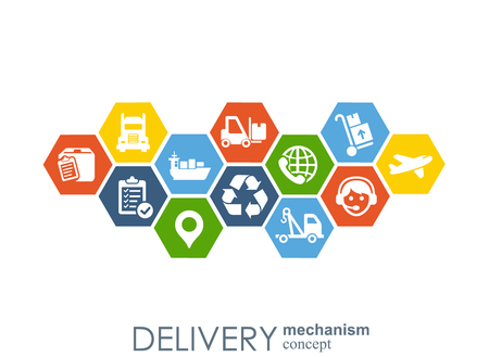 Delivery mechanism concept. Abstract background with connected gears and icons for logistic, service, strategy, shipping, distribution, transport, market, communicate concepts. Vector interactive