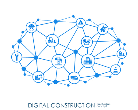 Digital construction Hexagon abstract background with lines, polygons, and integrated flat icons. Connected symbols for build, industry, architectural, engineering concepts. Vector
