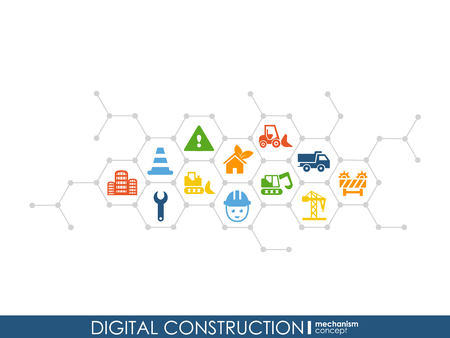 Digitaler Bau Hexagon abstrakter Hintergrund mit Linien, Polygonen und integrierten flachen Symbolen. Verbundene Symbole für Bau-, Industrie-, Architektur- und Ingenieurkonzepte. Vektor