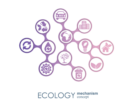 Ecology mechanism concept. Abstract background with connected gears and icons for eco friendly, energy, environment, green, recycle, bio and global concepts. Vector infographic illustration Stock fotó - 122753382