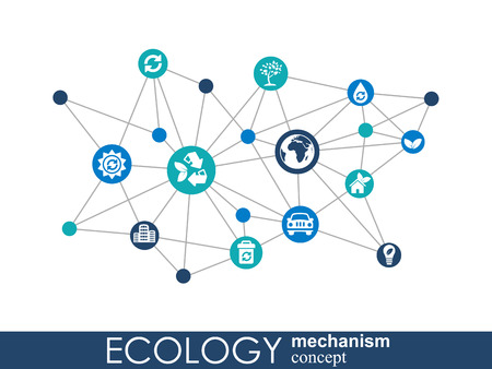 Ecology mechanism concept. Abstract background with connected gears and icons for eco friendly, energy, environment, green, recycle, bio and global concepts. Vector infographic illustration