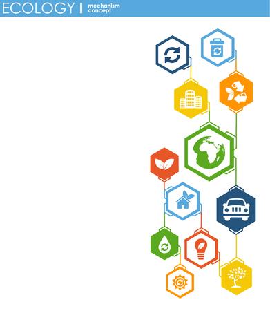 Concetto di meccanismo di ecologia. Sfondo astratto con ingranaggi collegati e icone per concetti ecologici, energetici, ambientali, verdi, di riciclo, bio e globali. Illustrazione infografica vettoriale Vector