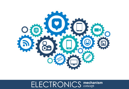 Electronics mechanism. Abstract background with connected gears and integrated flat icons. Connected symbols for monitor, phone. Vector interactive illustration