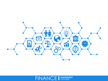 Finance mechanism interact concept. Connected graphic design dot and line system. Abstract background for money bank, market transaction. Vector Infograph