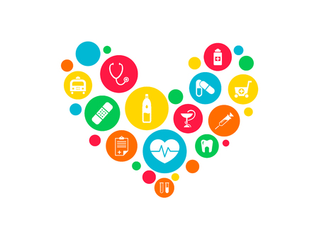 Healthcare mechanism concept. Abstract background with connected gears and icons for medical, health, strategy, care, medicine, network, social media and global concepts. Vector infographic Vector Illustratie