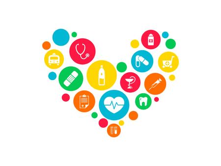 Konzept des Gesundheitsmechanismus. Abstrakter Hintergrund mit verbundenen Zahnrädern und Symbolen für Medizin, Gesundheit, Strategie, Pflege, Medizin, Netzwerk, soziale Medien und globale Konzepte. Vektor-Infografik Vektorgrafik