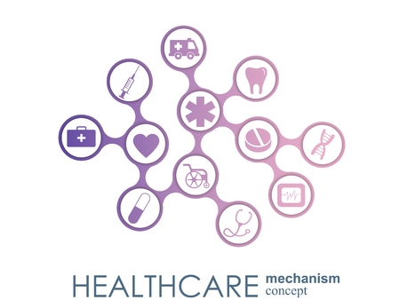 Healthcare mechanism concept. Abstract background with connected gears and icons for medical, health, strategy, care, medicine, network, social media and global concepts. Vector infographic