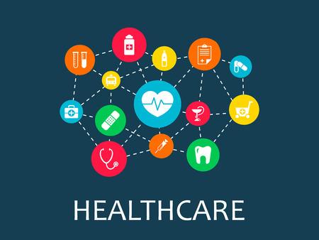 Koncepcja mechanizmu opieki zdrowotnej. Streszczenie tło z połączonymi biegami i ikonami dla medycyny, zdrowia, strategii, opieki, medycyny, sieci, mediów społecznościowych i koncepcji globalnych. Infografika wektor