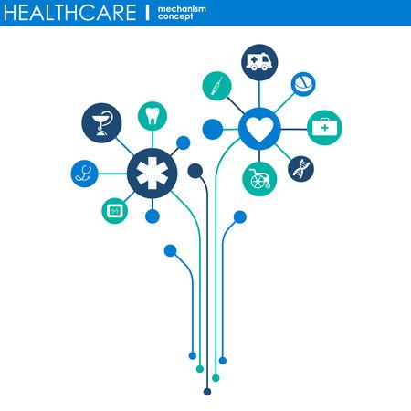 Konzept des Gesundheitsmechanismus. Abstrakter Hintergrund mit verbundenen Zahnrädern und Symbolen für Medizin, Gesundheit, Strategie, Pflege, Medizin, Netzwerk, soziale Medien und globale Konzepte. Vektor-Infografik