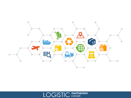LOGISTIC mechanism concept. distribution, delivery, service, shipping, logistic, transport, market concepts Abstract background with connected objects Vector illustration