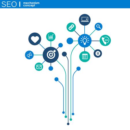 Concepto de mecanismo de SEO. Fondo abstracto con engranajes e iconos integrados para estrategia, digital, internet, red, conexión, análisis, redes sociales y conceptos globales