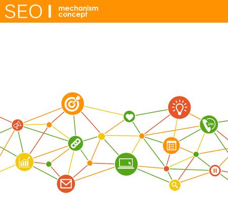 SEO-Mechanismus-Konzept. Abstrakter Hintergrund mit integrierten Zahnrädern und Symbolen für Strategie, Digital, Internet, Netzwerk, Connect, Analytics, Social Media und globale Konzepte