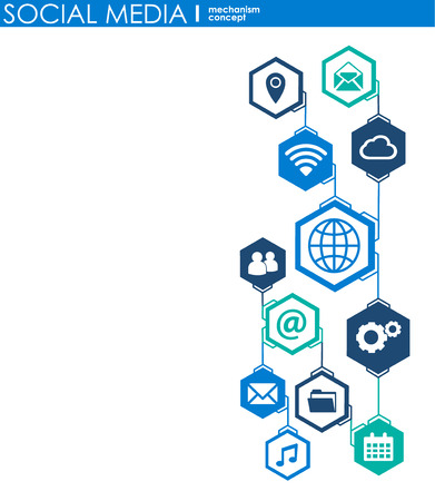 Concepto de conexión a las redes sociales. Fondo abstracto con círculos e iconos integrados para digital, internet, red, conectar, comunicar, tecnología, conceptos globales. Ilustración de vector infograp Ilustración de vector