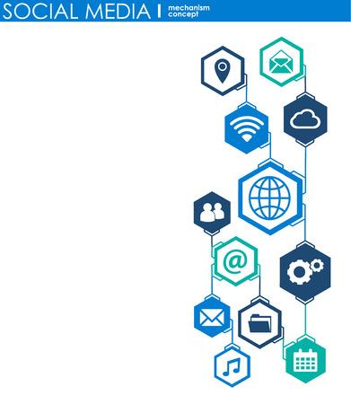 Concetto di connessione ai social media. Sfondo astratto con cerchi e icone integrati per digitale, internet, rete, connessione, comunicazione, tecnologia, concetti globali. Illustrazione di infografica vettoriale Vettoriali