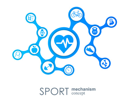 Sport mechanism concept. Football, basketball, volleyball, ball concepts. Abstract background with connected objects. Vector illustration Stock Illustratie
