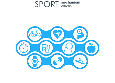 Sport mechanism concept. Football, basketball, volleyball, ball concepts. Abstract background with connected objects. Vector illustration Ilustração