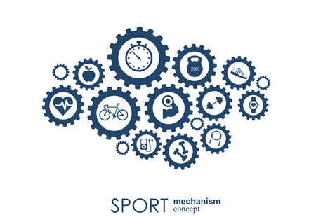 Sport mechanism concept. Football, basketball, volleyball, ball concepts. Abstract background with connected objects. Vector illustration