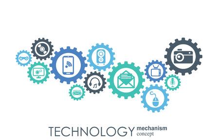 Concetto di meccanismo tecnologico. Sfondo astratto con ingranaggi integrati e icone per digitale, strategia, internet, rete, connessione, comunicazione, social media e concetti globali. Infografica vettoriale Vettoriali