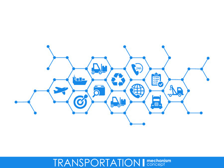 Transportation integrated interact concept. Connected graphic design dot and line system. Abstract background for traffic, navigation service. Vector Infograph