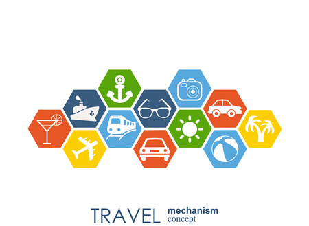 Travel mechanism. Abstract background with connected gears and integrated flat icons. Vector interactive illustration