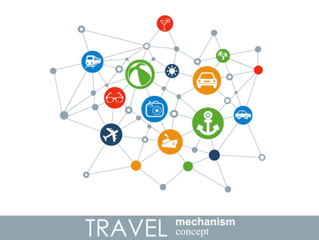 Travel mechanism. Abstract background with connected gears and integrated flat icons. Vector interactive illustration Illustration