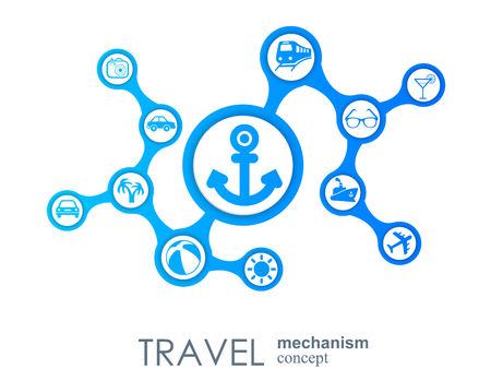 Travel mechanism. Abstract background with connected gears and integrated flat icons. Vector interactive illustration Иллюстрация