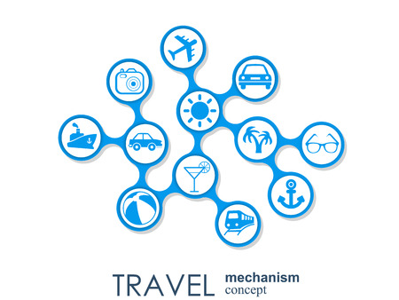 Travel mechanism. Abstract background with connected gears and integrated flat icons. Vector interactive illustration Ilustração
