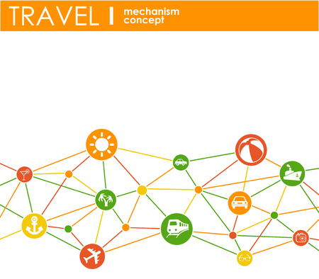 Travel mechanism. Abstract background with connected gears and integrated flat icons. Vector interactive illustration Vettoriali