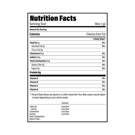 Etichetta informativa sui fatti nutrizionali per scatola. Valore giornaliero di calorie, colesterolo e grassi degli ingredienti in grammi e percentuale. Design piatto, illustrazione vettoriale su sfondo