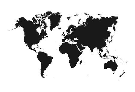 Vettore della mappa del mondo isolato su priorità bassa bianca. Icona mappamondo globo