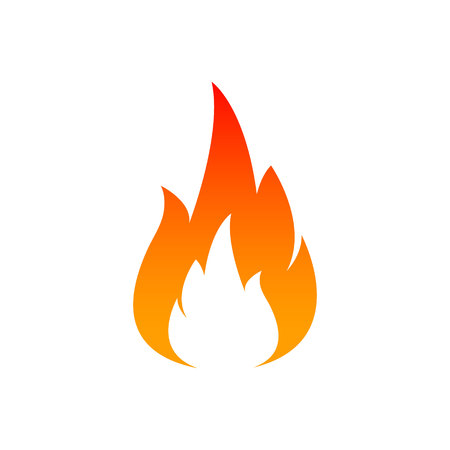 Fire flame icon. Oil, gas and energy concept and hot food. Flat design, vector illustration on background Ilustrace