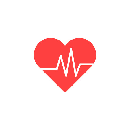 Heart Isometric health care concept red shape and heartbeat. Vector illustration Imagens - 122753617