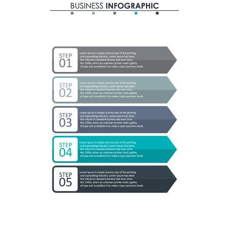 Dati aziendali, grafico. Elementi astratti di grafico, diagramma con 5 passaggi, strategia, opzioni, parti o processi. Modello di affari di vettore per la presentazione. Concept creativo per infografica
