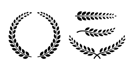 Best set Laurel Wreaths and branches. Wreath collection. Winner wreath icon. Awards. Vector illustration Çizim