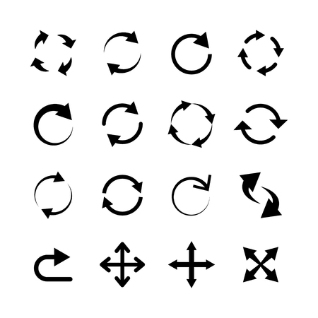 Grande set di frecce circolari. Ricarica aggiornamento pittogramma. Elemento per siti web. Illustrazione vettoriale