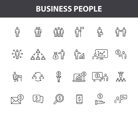 Set of 24 Business people and teamwork web icons in line style. Business, teamwork, leadership, manager. Vector illustration Illustration