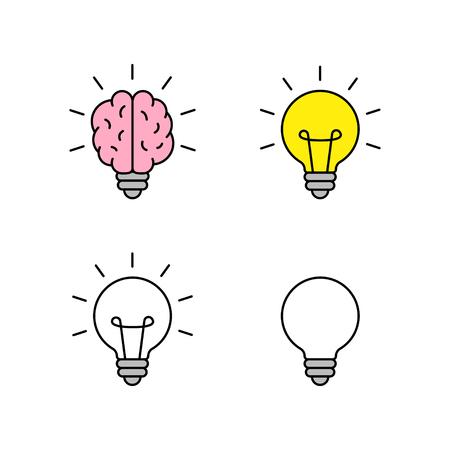 Set of Light bulb with brain icons. Creativity, creative idea. Vector illustration