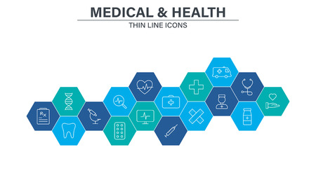 Set of Medical and Health web icons in line style. Medicine and Health Care, RX, infographic. Vector illustration