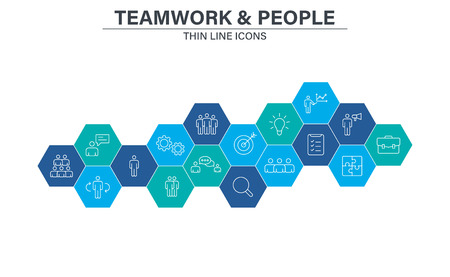 Set of Teamwork icons in line style. Team Work, people, support, business. Vector illustration Illusztráció
